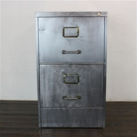 Vintage Art Metal 2 drawer stripped steel filing cabinet