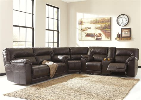 Benchcraft Sectional by Benchcraft Barrettsville Durablend 174 3 Reclining