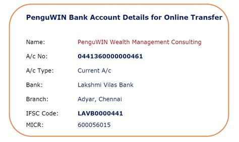 bank account details repository penguwin investment services wealth