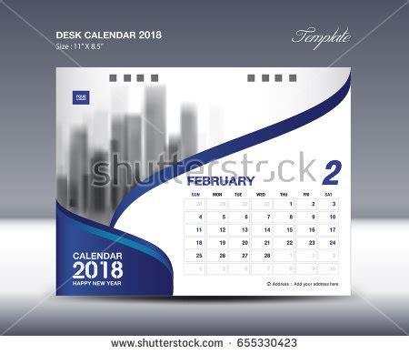 Calendar 2018 Design February Desk Calendar 2018 Template Flyer Stock Vector