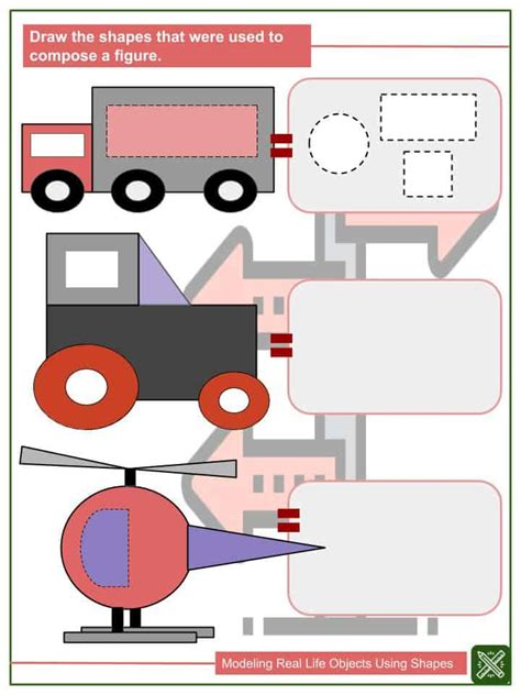 modeling real life objects  shapes worksheets