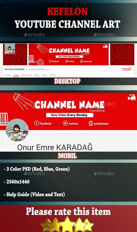 kefelon youtube channel cover art template psd download