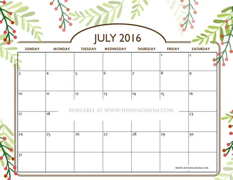 Calendar For July 2016 Free Printable Calendars For July 2016