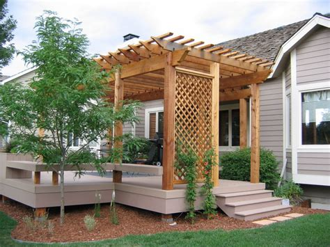 Pergola Ideas For Small Backyards Impressive Wooden Pergola Design Ideas With Yard Elves Deck Also Small Tree Plus Outdoor Seating