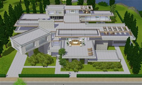 Sims 3 Modern Luxury Mansion By Ramborocky On Deviantart Modern Mansion Floor Plans Sims 3