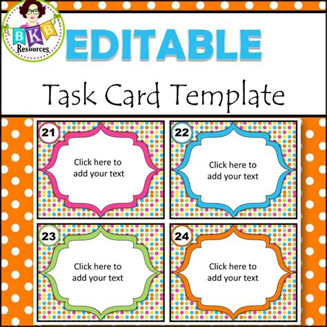 Task Card Template Ppt by Editable Task Card Templates Bkb Resources