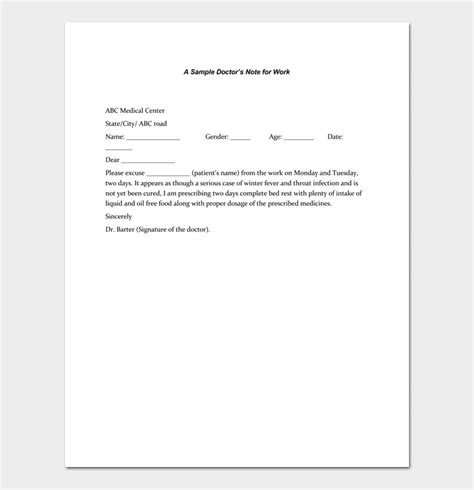 Doctors Note Template 7 Fillable Notes For Word Pdf Doctors Note For Work Template
