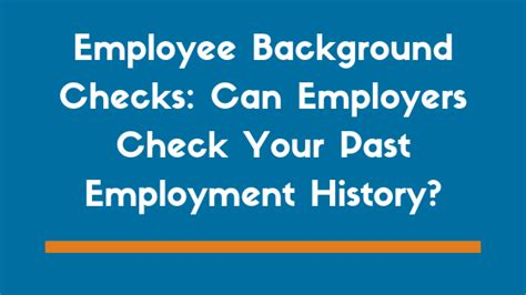 employer background check can employers check employment history through a