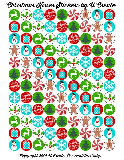 Printable Xmas Stickers | how to make hershey kisses stickers