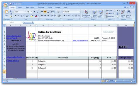 shopping receipt template gold shop receipt template softpedia