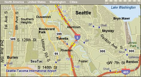 seattle map i5 i 5 tukwila wa exit and gas stations map