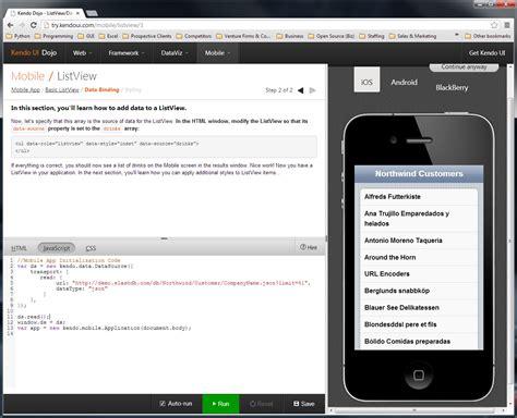 kendo ui for mobile mobile app in a few clicks using slashdb and kendoui