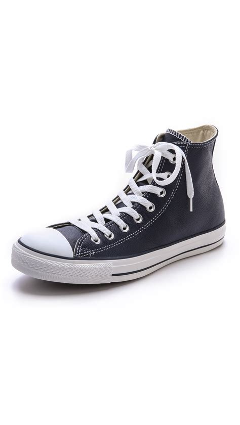 chuck sneakers for converse leather chuck high top sneakers in blue