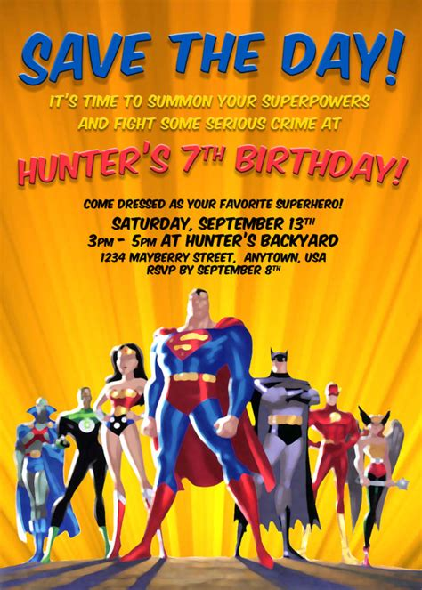 justice league printable birthday cards items similar to justice league party invitation custom