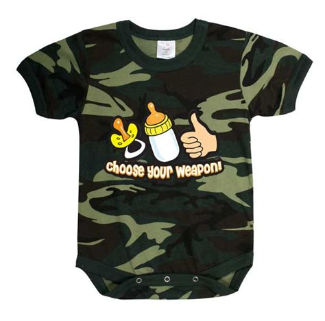 Woodland camo choose your weapon baby onsie