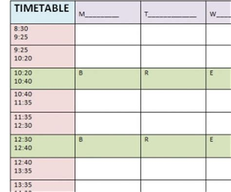 timetable templates for teachers blank timetable template