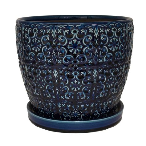 10 In Ceramic Planter by Trendspot 10 In D Blue Ceramic Mediterranean Bell Planter
