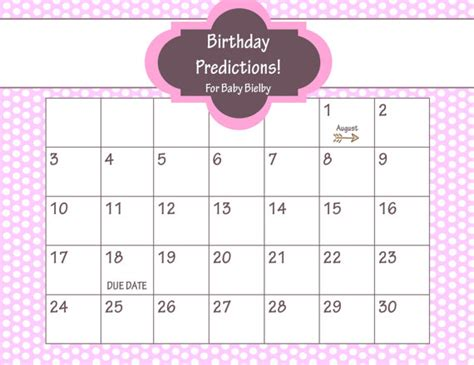 printable due date calendar baby shower game guess