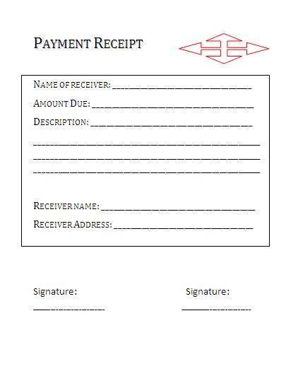 receipt for payment template free printable forms
