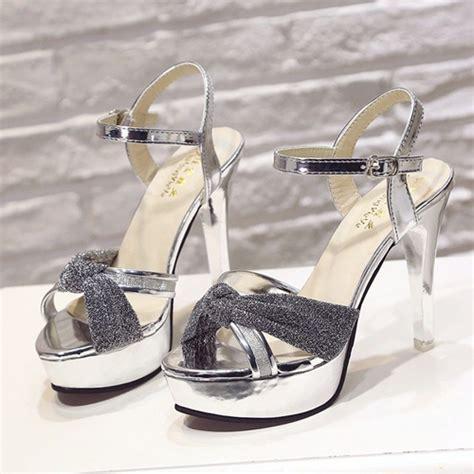 Sepatu Wanita Heels 208 jual shh208 silver sepatu heels cantik wanita elegan 12cm