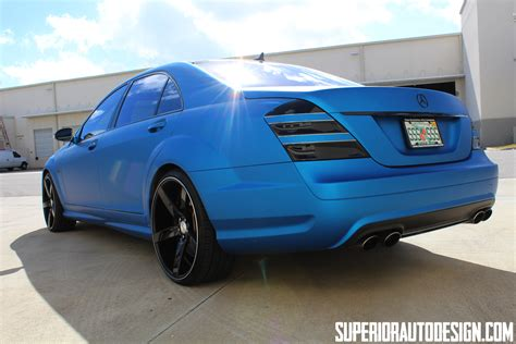 matte blue mercedes s63 amg wrapped in matte blue metallic