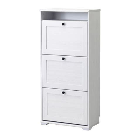 brusali shoe cabinet with 3 compartments white ikea