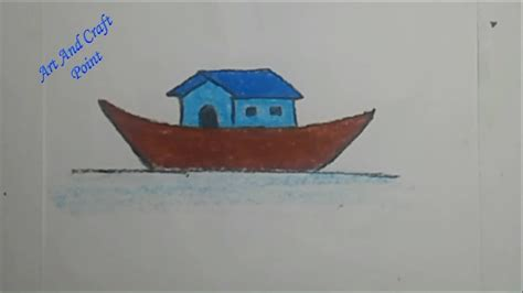 boat house drawing how to draw step by step simple pastel house boat for kids