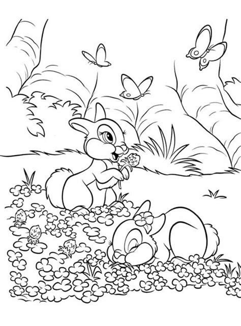 coloring pages field of flowers thumper and miss bunny on the flower field
