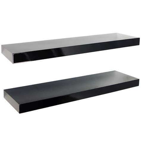 Gloss Wall Mounted 70cm Floating Shelves Pack Of Two Floating Shelves Black