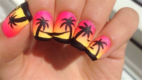 easy nail art palm tree easy neon gradient and palm tree nail art youtube