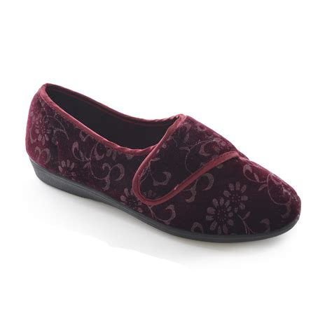 indoor slippers womens floral touch fastening velour indoor