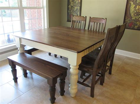 square table with bench custom square farmhouse farm table w matching benches