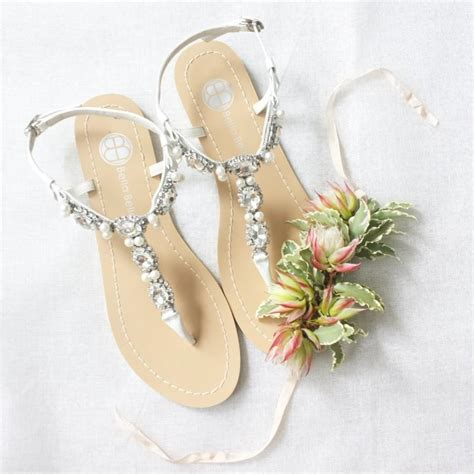bridal sandals with pearls pearl wedding sandals shoes with something blue sole and