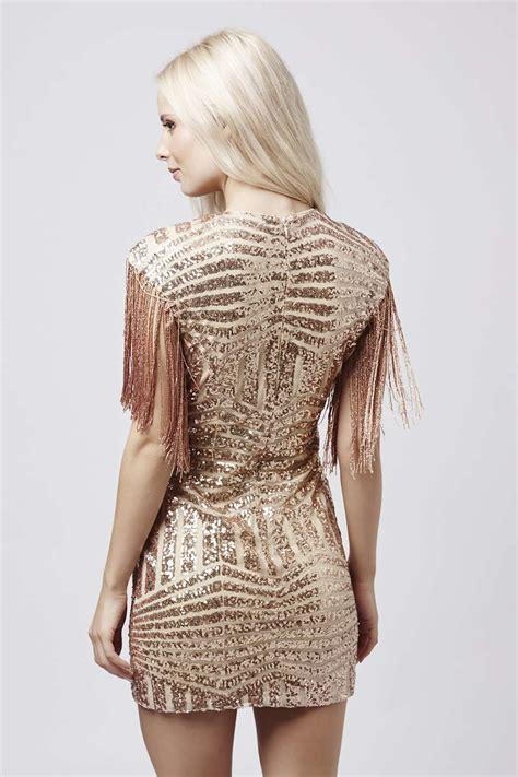 Jual Bershka Metallic Mini Dress by Lyst Topshop Plunge Fringe Sequin Mini Dress By In