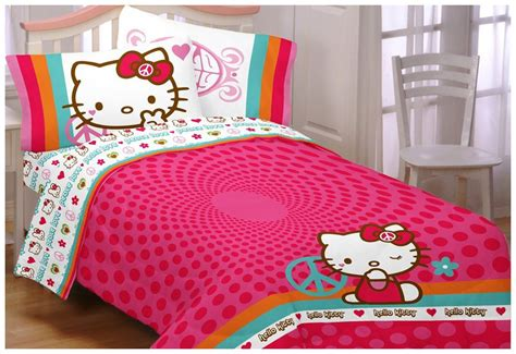 hello kitty bed sheets hello kitty peace love sanrio twin bedding sheets set