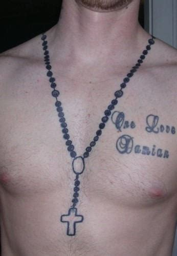 rosary neck tattoo designs black rosary