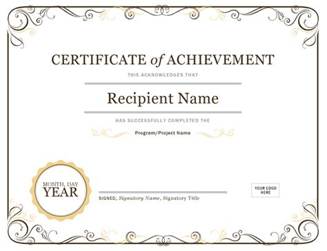 Certificates Office Com Powerpoint Certificate Of Achievement Template