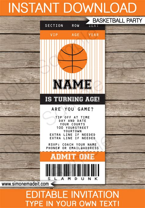 free basketball templates free basketball birthday invitation templates
