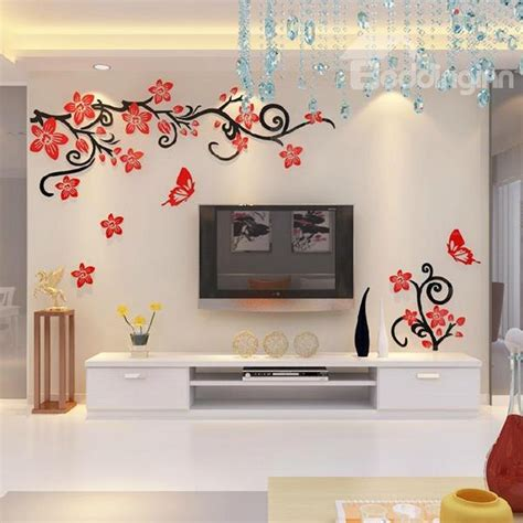 flower stickers for wall fabulous acrylic 3d flowers and vines tv wall bedroom 3d