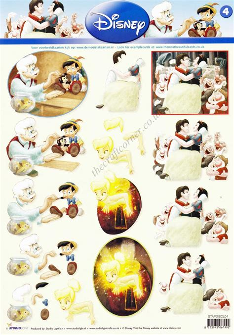 Disney Decoupage - disney classic 4 snow white pinocchio and pan