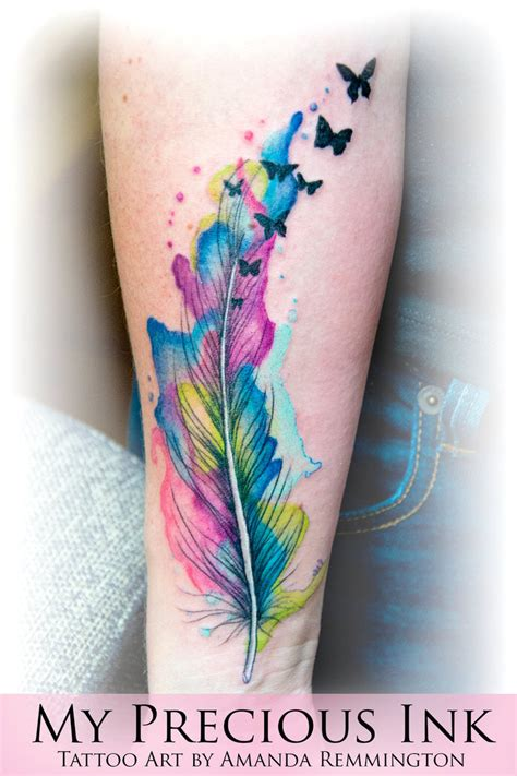 watercolor feather butterfly tattoo by mentjuh on deviantart