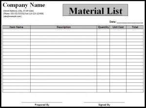 construction materials list template construction material construction material list template