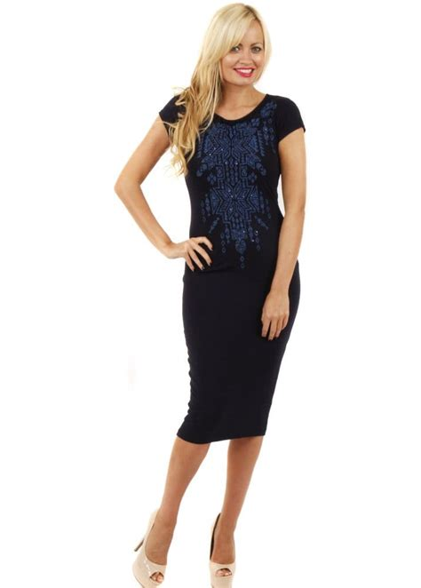 Dress Branded Simply Styled Navy Dress navy midi dress beaded pencil dress pretty midi length dress