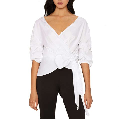 White Wrap Blouse With Tie by Haoduoyi Ruffle Sleeve Oversized Wrap Top White