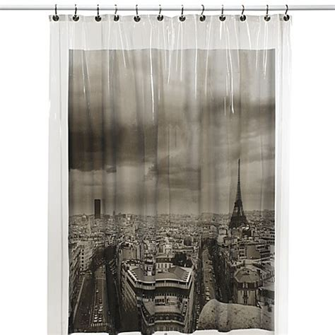 parisian shower curtain paris vinyl shower curtain bed bath beyond