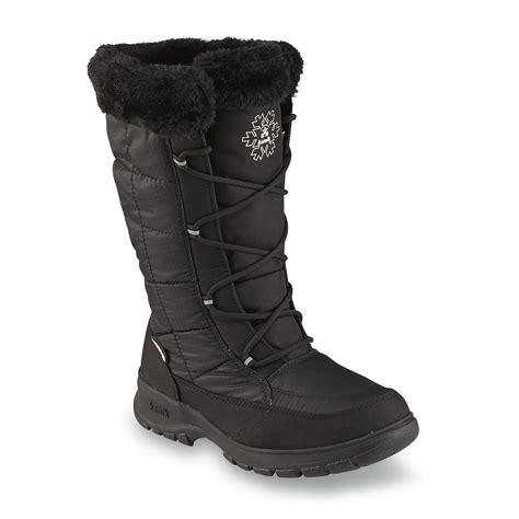 wide width snow boots kamik s newyork2 black water resistant mid calf faux