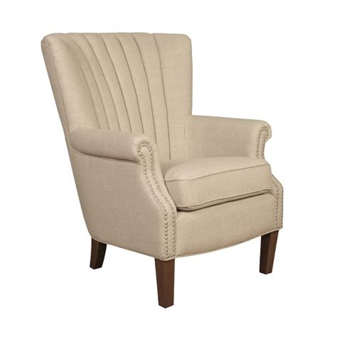 home goods armchairs silon armchair in beige fabric with dark brown legs home