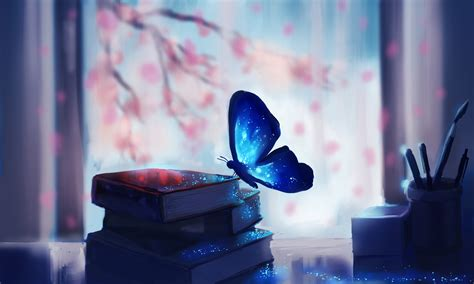 wallpaper blue butterfly books fantasy  creative
