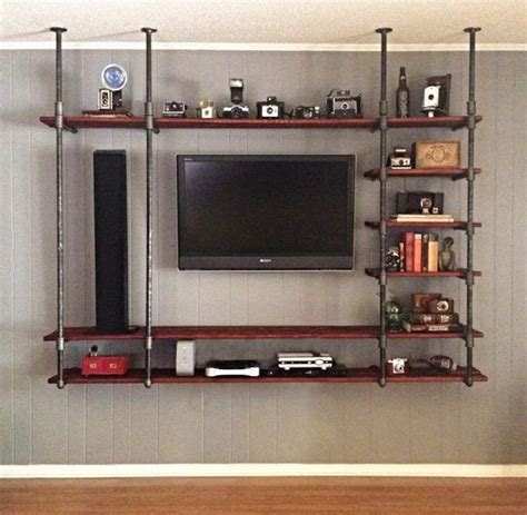 entertainment center with shelves dyi industrial pipe entertainment center diy