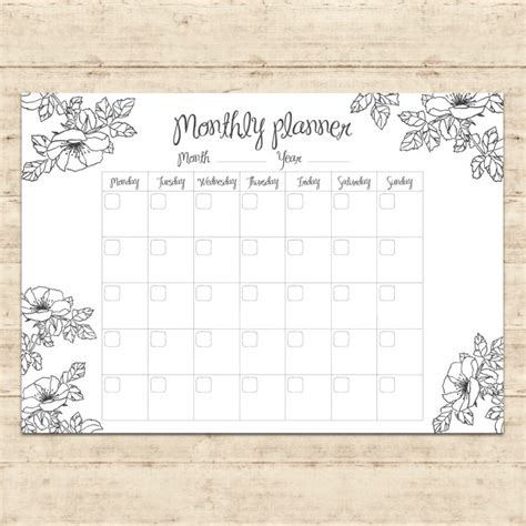 free printable planner design monthly planner design vector free download